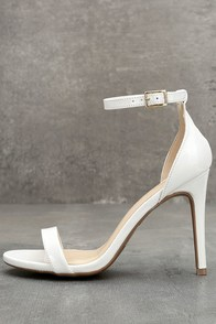 Betti White Patent Ankle Strap Heels