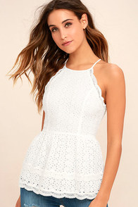 Be True White Lace Peplum Top
