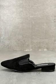 Abigail Black Suede Loafer Slides