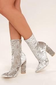 Marvel Grey Velvet Mid-Calf Boots