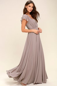 Vintage Evening Dresses and Formal Evening Gowns Falling For You Taupe Maxi Dress $89.00 AT vintagedancer.com