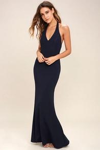 Love Potion Navy Blue Lace Halter Maxi Dress