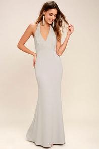 Love Potion Grey Lace Halter Maxi Dress