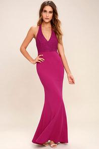 Love Potion Fuchsia Lace Halter Maxi Dress