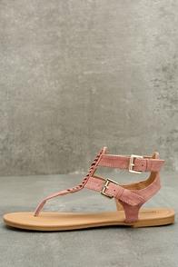 Draya Mauve Suede Flat Sandals