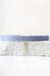 Current Obsession Gold and Blue Denim Choker Necklace