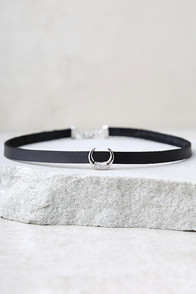 It-Girl Black and Silver Choker Necklace