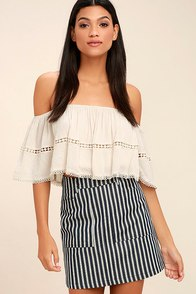 Derby Darling Navy Blue Striped Mini Skirt