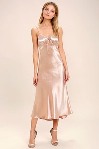 Serenade Me Blush Pink Satin Midi Dress