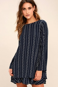 PPLA Odessa Navy Blue Print Long Sleeve Swing Dress