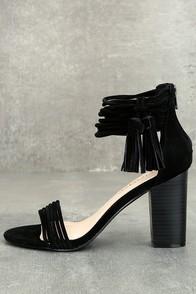 Parvati Black Suede Ankle Strap Heels