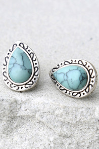 Confident and Courageous Silver and Turquoise Earrings