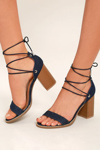 Wendy Dark Denim Lace-Up Heels