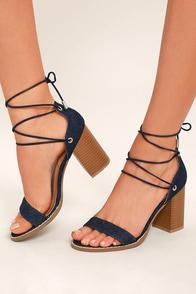 Wendy Dark Denim Lace-Up Heels