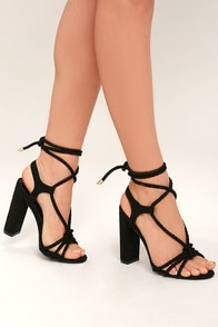Ophelia Black Suede Lace-Up Heels