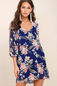 Shifting Dears Royal Blue Floral Print Long Sleeve Dress