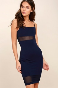Something Between Us Navy Blue Bodycon Midi Dress