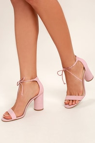 Steve Madden Shays Pink Nubuck Leather Lace-Up Heels