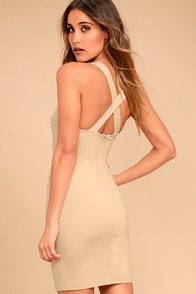 Play Time Beige Bodycon Dress