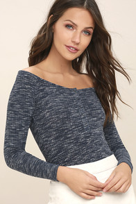 Hangin' Around Navy Blue Off-the-Shoulder Top