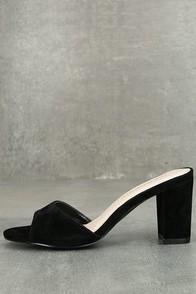 Linza Black Suede Slide-On High Heel Sandals