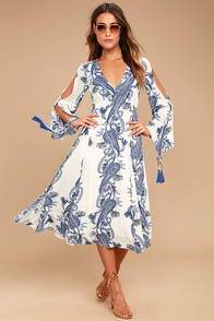 Boat Life Blue and White Print Midi Dress