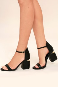 Amelia Black Ankle Strap Heels
