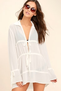 Fluent in Chic White Long Sleeve Cover-Up