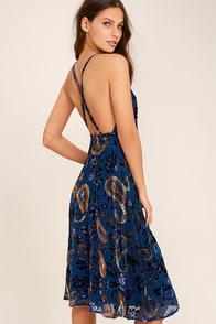 Unforgettable Encounter Navy Blue Velvet Print Midi Dress