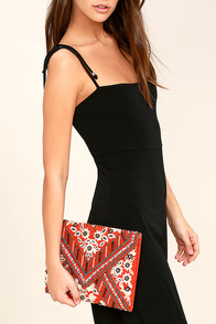 Gleaming Arrangement Rust Orange Beaded Clutch
