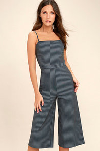 Vintage Overalls 1910s -1950s Pictures and History Negotiation Slate Grey Striped Midi Jumpsuit $58.00 AT vintagedancer.com