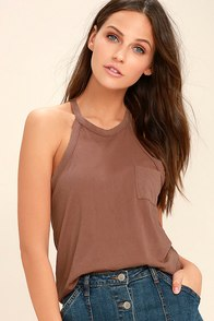 Others Follow Allyson Washed Brown Tank Top 1