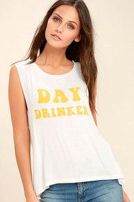 Daydreamer Day Drinker Ivory Muscle Tee