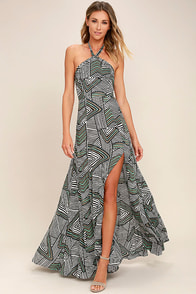 Mesmerized Black and White Print Maxi Dress