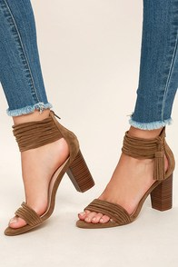 Parvati Taupe Suede Ankle Strap Heels