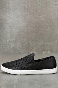 Perla Black Perforated Slip-On Sneakers