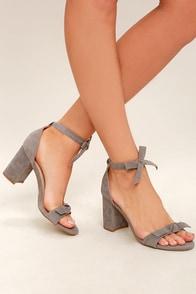Amaris Grey Suede Leg Wrap Heels