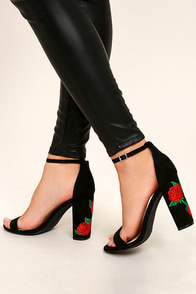 Felora Black Suede Embroidered Ankle Strap Heels