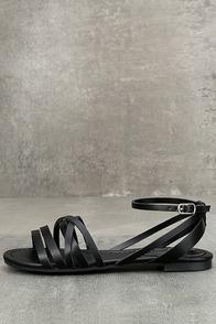 Zoila Black Ankle Strap Flat Sandals