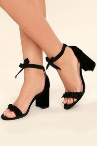 Amaris Black Suede Leg Wrap Heels