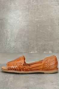 Sbicca Jared Tan Leather Huarache Flats