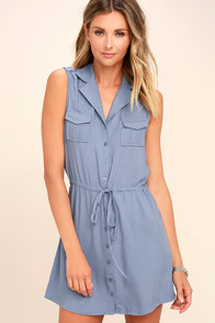 Jack by BB Dakota Santos Slate Blue Sleeveless Dress