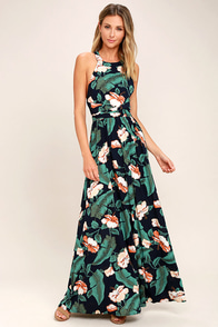 Temptation Island Navy Blue Floral Print Maxi Dress