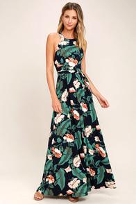 Temptation Island Navy Blue Floral Print Maxi Dress