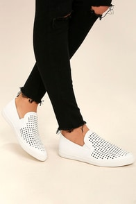 Perla White Perforated Slip-On Sneakers
