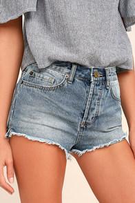Amuse Society Easton Light Wash Distressed Denim Shorts