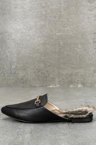 Antonia Black Faux Fur Loafer Slides