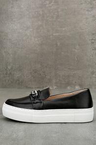 J Slides Piper Black Leather Flatform Loafers