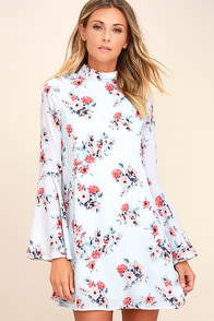 Like and Cher Light Blue Floral Print Shift Dress
