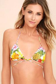 Flor de Piel Mimi White Tropical Print Bikini Top